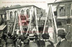 Constantinople, 3mai 1909: exécution d'insurgés sur la place Eminönu (carte postale ancienne, coll.privée)